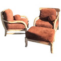 Pair of Kreiss Large Suede and Antiqued Rustico Wood Club Chairs and Ottoman