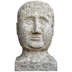 Carved Granite Folk-Art Bust