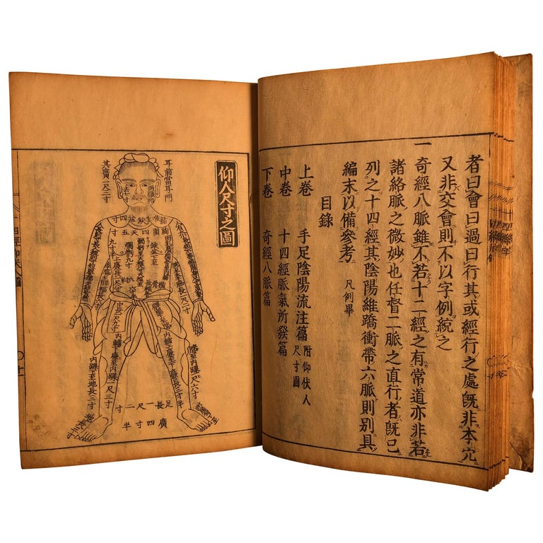 Important Acupuncture Japanese Antique Woodblock Guide Book, 19th Century Prints For Sale