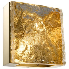 Brushed Brass-Plated Steel and Hand Sculpted Glass Wall Lamp