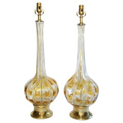 Pair of Murano Italian Amber and Clear Glass Table Lamps