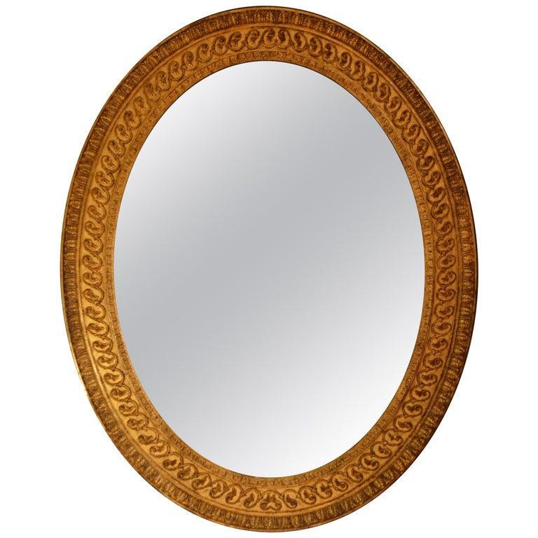 18th Century Carved Giltwood and Composition Oval Mirror of Adam Design 1