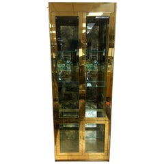 Mastercraft Signed Midcentury Illuminated Vitrine Display Cabinet Brass & Glass