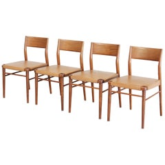 Georg Leowald Saddle Leather Dining Chairs for Wilkhahn, Set of 4
