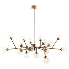 Handcrafted Mid-Century Modern Branching Chandelier in Vintage Brass