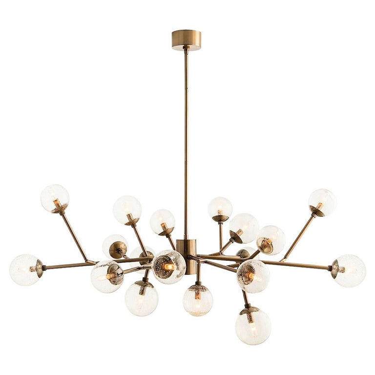 Handcrafted Mid-Century Modern Branching Chandelier in Vintage Brass For Sale