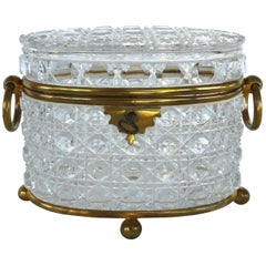 Antique Baccarat Cut Crystal Bronze Mounted Footed Oval Box with Original Key