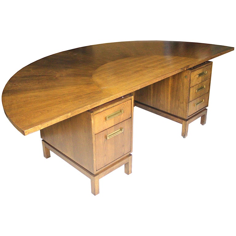 Vintage Mid Century Modern Mahogany Demilune Executive Desk And