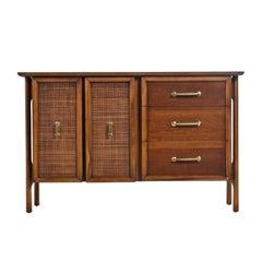 Edmund Spence Style Mid-Century Modern Cane Door Brass Accent Credenza Buffet