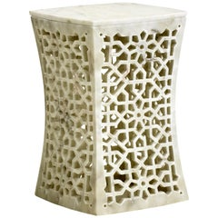 Jour Geometric Jali Side Table in White Marble by Paul Mathieu