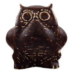 Carl Harry Stålhane, Rörstrand, Stoneware Figure, Owl, Beautiful Glaze