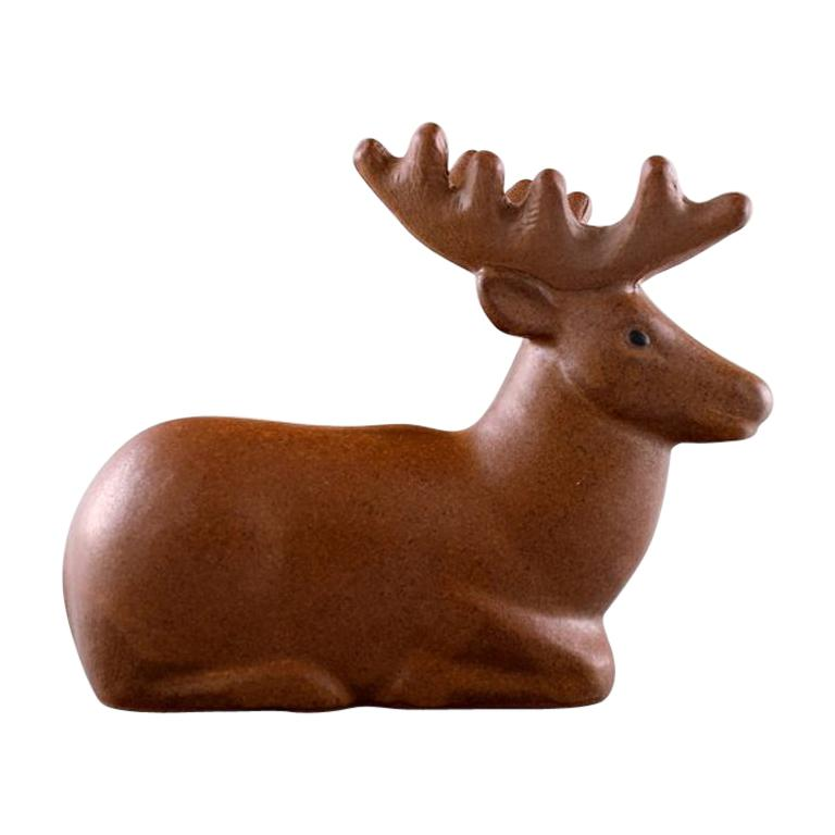 Rare Figure, Lisa Larson for Jie Stengods-Ateljé, Deer, Glazed Ceramics For Sale