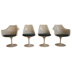 Set of 4 Eero Saarinen Midcentury Dark Green Tulip Dining Chairs