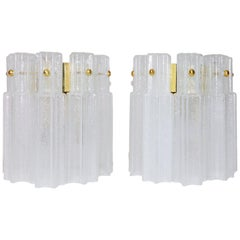 Pair of 1960s Glashuette Limburg Hand Blown Glass Wall Lights