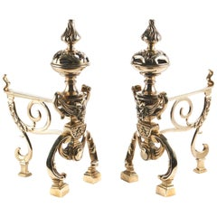Pair of 19th Century Cast Brass Fireside Dogs