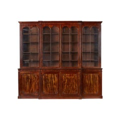 Antique Regency Flame Mahogany Four Door Breakfront Bookcase, 19th Century