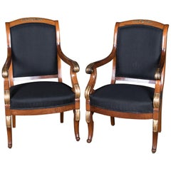 Two French Empire Armchairs circa 1860 Mahogany