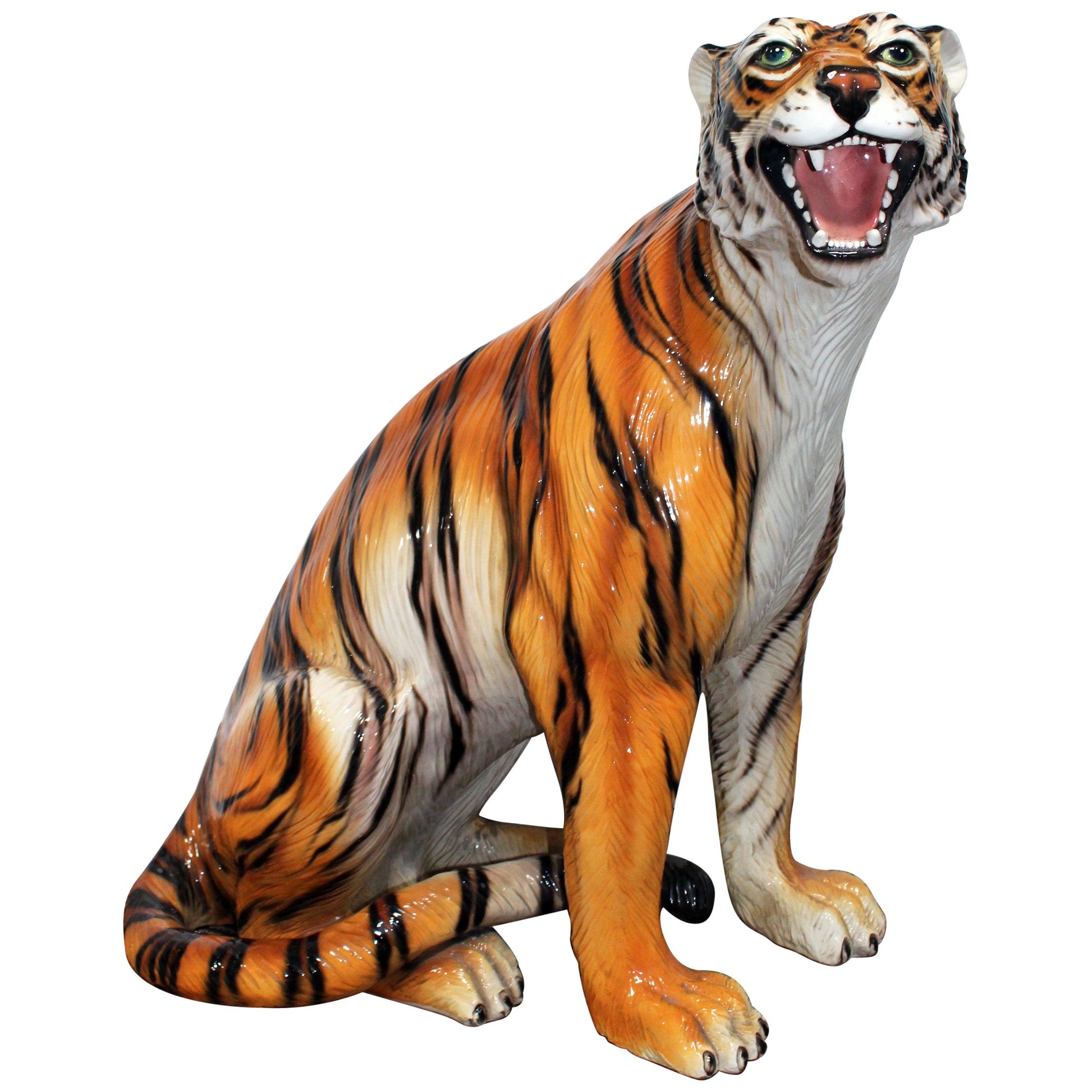 1980s Spanish Hand Painted Glazed Ceramic Tiger Sculpture