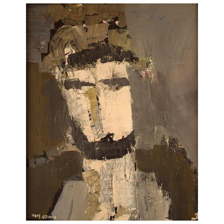 Hans Osswald, Swedish Artist, Oil on Board, Portrait of Man For Sale