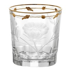 Double Old Fashioned Hand Blown, Engraved, Gilded Glasses 'Paula' by Moser