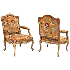 Pair of Louis XV Style Armchairs in Natural Walnut and Gilt Highlights, 1950s