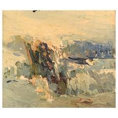 Nils Johansson, Swedish Artist, Oil on Canvas, Winter Landscape