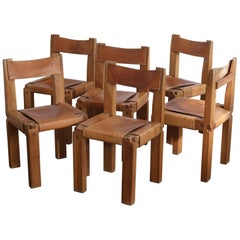 Set of 6 S11 Solid Elm Dining Chairs by Pierre Chapo