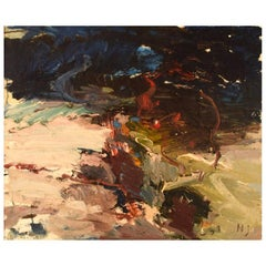 "Nils Johansson, Swedish Artist, Oil on Canvas, ""Beach Vegetation"""
