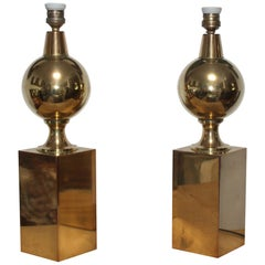 1970s Pair of French Brass Table Lamps