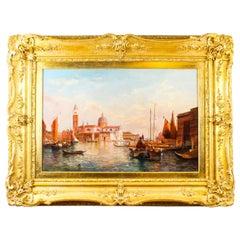 Antique Oil Painting San Giorgio Maggiore Venice Alfred Pollentine 19th Century