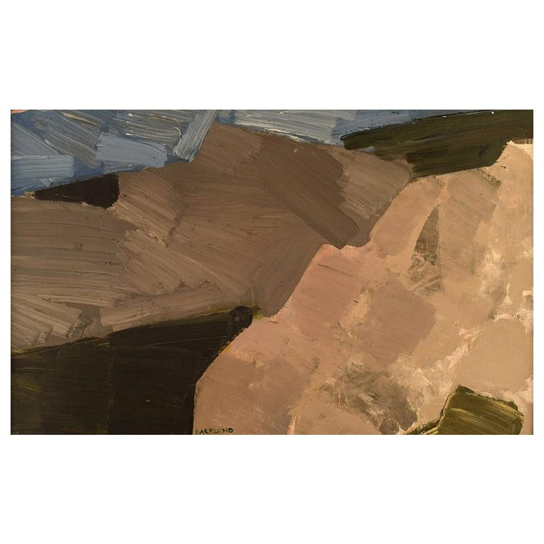 Gösta Backlund, Swedish Artist, Oil on Canvas, Modernist Landscape For Sale