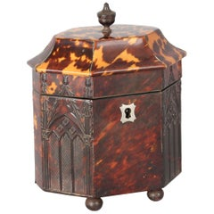 Rare and Fine Regency Period Octagonal Tortoiseshell Tea-Caddy