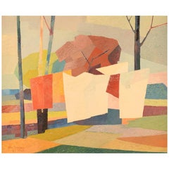 Stig Jonzon, Swedish Artist, Oil on Canvas, Cubist Landscape