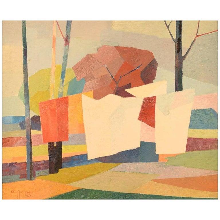 Stig Jonzon, Swedish Artist, Oil on Canvas, Cubist Landscape For Sale