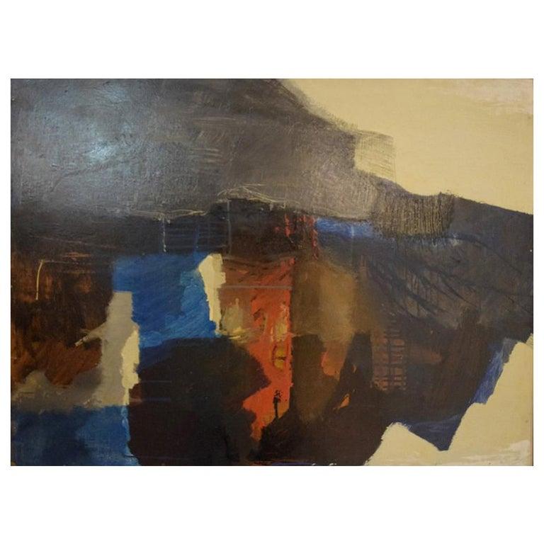 Eric Göran Gustavsson, Swedish Artist, Oil on Board, Abstract Landscape For Sale