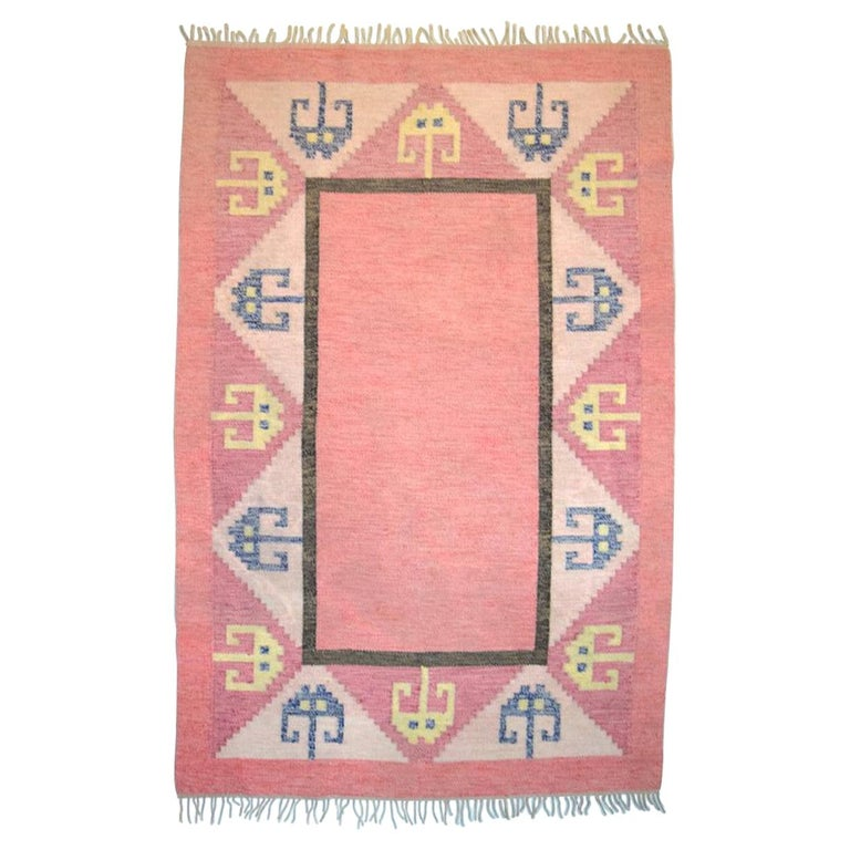 Röllakan Rug, Swedish Design, 1960s, Pink Shades For Sale