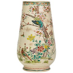 Antique Hand Painted Japanese Satsuma Pottery Vase, 19th Century