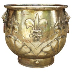 19th Century French Bronze Planter with Fleur-de-lis and Lion Head Side Handles
