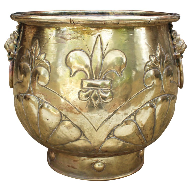 19th Century French Bronze Planter with Fleur-de-lis and Lion Head Side Handles For Sale