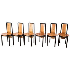 Set of Six French Pierre Cardin Pecan and Ebonized Maple Wood Chairs, 1970s