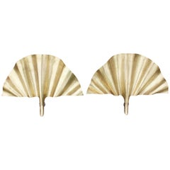 Modern Pair of Brass Leaf Shaped Wall Lamps