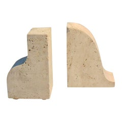 1970 Pair of Travertine Bookends by G. Cesari for Sormani, Italy