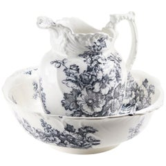 Antique Victorian Gray and White Jug and Bowl