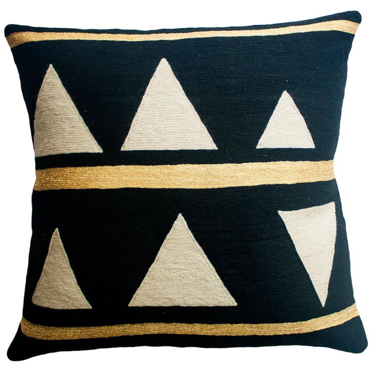 Anaya Stream Gold Hand Embroidered Modern Geometric Throw Pillow Cover For Sale