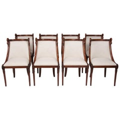 Set of 8 French 19th Century Empire Style Barrel Back Dining Chairs