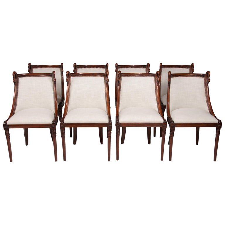 Set of 8 French 19th Century Empire Style Barrel Back Dining Chairs For Sale