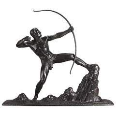 """French Art Deco Bronze Study """"The Archer"""" by Lucien Gibert"""