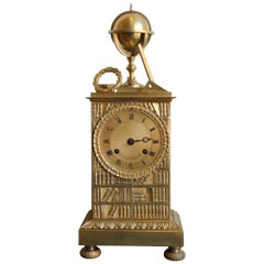 19th Century Gilt Bronze Clock Representing Allegory of Science