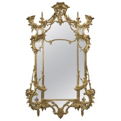 George III Style Giltwood Mirror in the Manner of Thomas Johnson, circa 1870