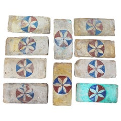 19th Century Set of 10 Andalusia Hand Painted Bricks with Flower Motif